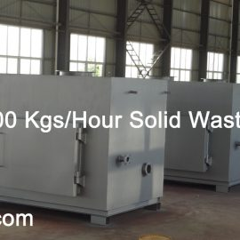 50-100-150-200 Kgs per Hour Solid Waste Incinerator Model TS150 PLC 1570Liters Chamber
