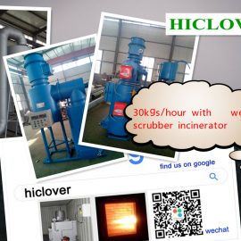 Dual heat burners and dual chamber incinerator Burning capacity up to 30 Kg per hour with wet scrubber