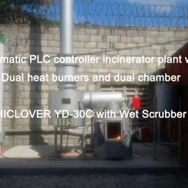 Automatic PLC controller incinerator plant with Dual heat burners and dual chamber HICLOVER YD-30C with Wet Scrubber