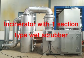 Incinerator with 1 or 3 section type wet scrubber