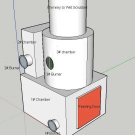 General specifications of a 100 kg/hr three combustion Chambers Incinerator