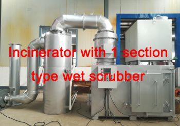 Wet scrubber for incinerators